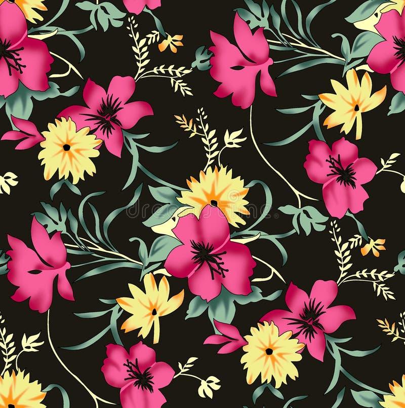 Sömlös härlig blommadesignmodell royaltyfri illustrationer