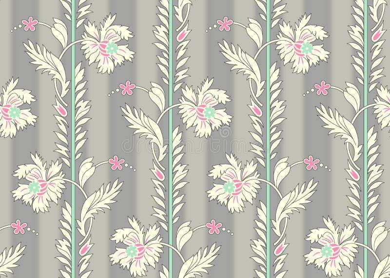 Sömlös härlig blommamodell med grå skuggabakgrund stock illustrationer