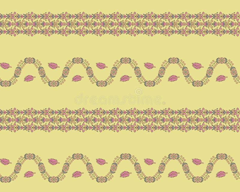 Sömlös härlig gränsstil för blom- design stock illustrationer