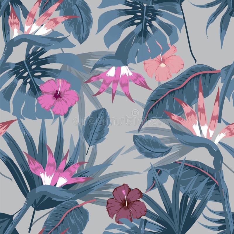 Sömlös härlig konstnärlig ljus tropisk modell för vektor med vektor illustrationer