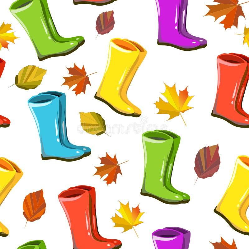 Sömlös höst för vektor, nedgångmodell, textute, tryck Regniga färgrika kängor, leafes, lövverk royaltyfri illustrationer