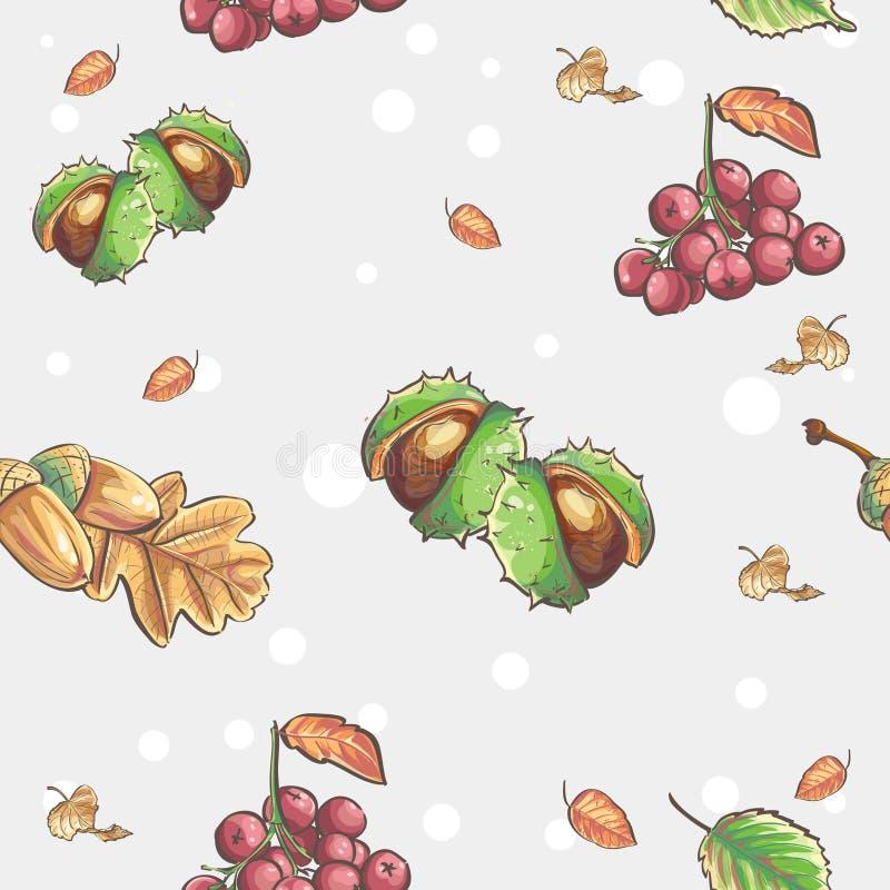 Sömlös höstlig modell med bilden av kastanjer och ekollonrönnbär vektor illustrationer