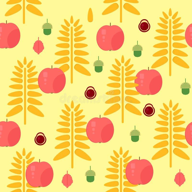 Sömlös höstmodell för vete och för äpple vektor illustrationer