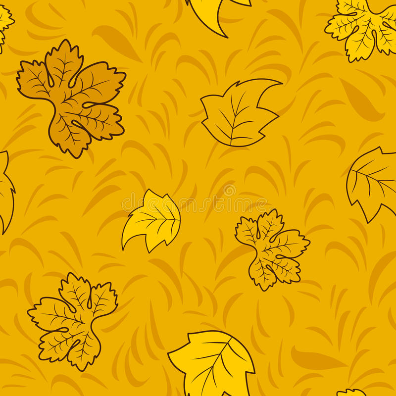 Sömlös höstmodell med guld- felika sidor stock illustrationer