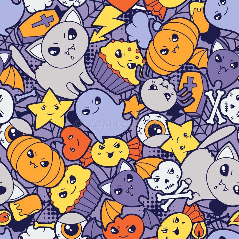 Sömlös halloween kawaiimodell med gulligt vektor illustrationer