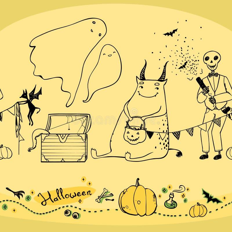 Sömlös halloween modell med det spökepumpor och skelettet stock illustrationer