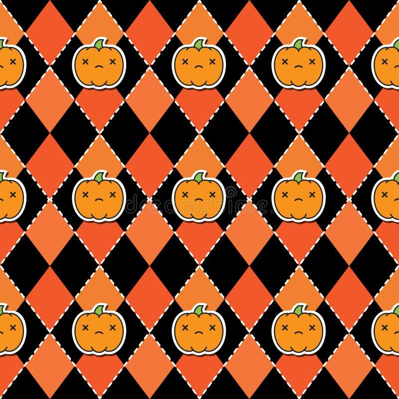 Sömlös halloween modell med pumpor på svart och orange bakgrund för argyle vektor illustrationer