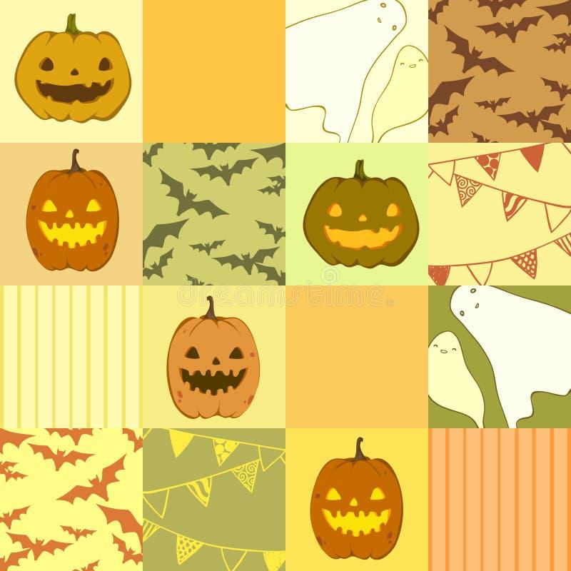 Sömlös halloween modell med spökar, pumpor, slagträn royaltyfri illustrationer