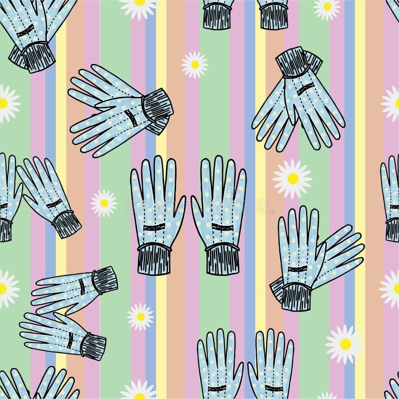 Sömlös Hand-dragen arbeta i trädgården handskebakgrund royaltyfri illustrationer