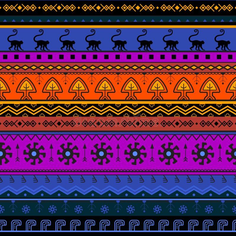 Sömlös hand-dragen etnisk modell stock illustrationer