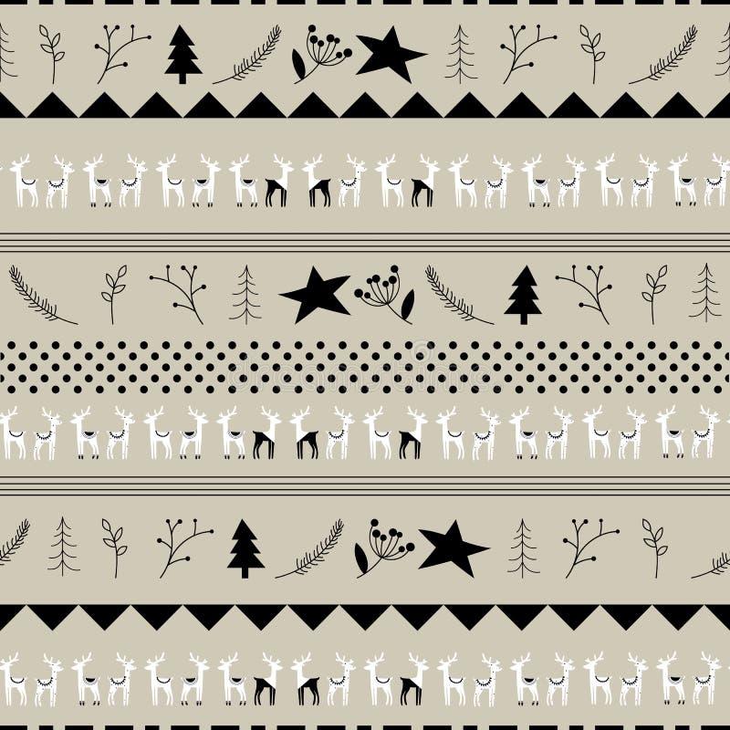 Sömlös hand-dragen julhjortmodell Dragen bakgrund för vektorabstrakt begrepp hand för design- och garneringtextil royaltyfri illustrationer