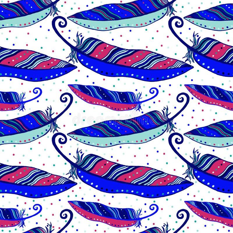 Sömlös hand dragen modell av regnbågsskimrande violetta fågelfjädrar också vektor för coreldrawillustration vektor illustrationer