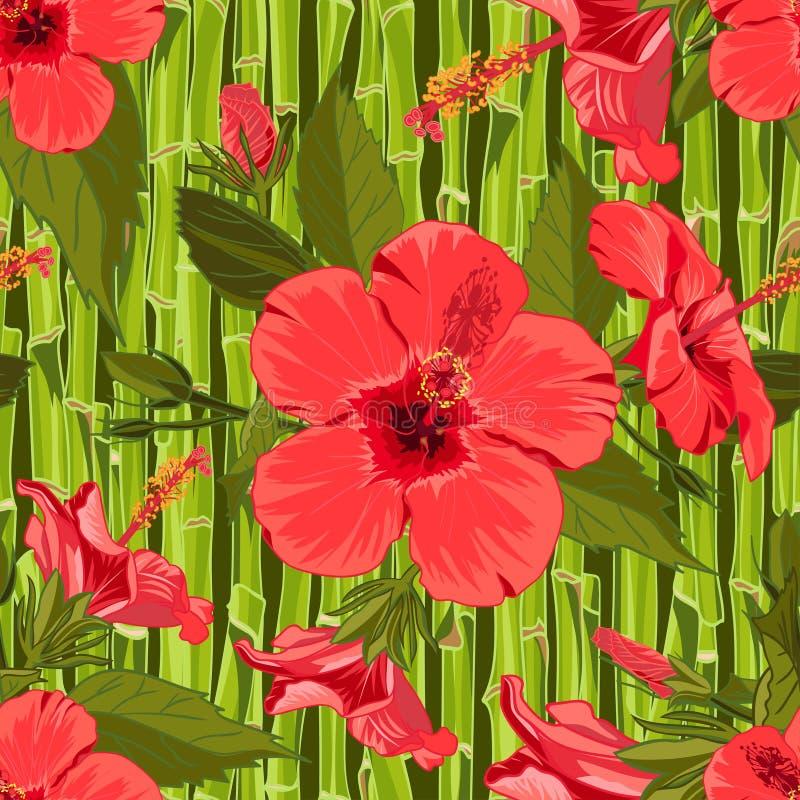 Sömlös hand dragen tropisk modell med den exotiska hibiskusblomman för djungel på bambubakgrund stock illustrationer