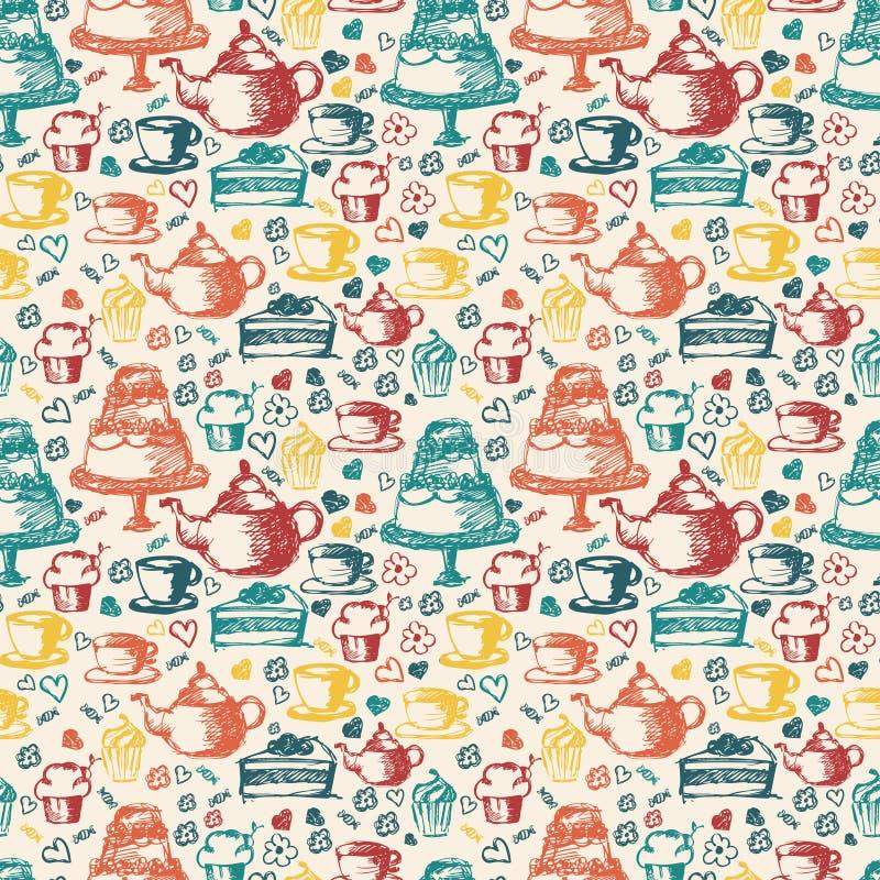 Sömlös hand som är skriftlig för tetidtema Med te kopp, royaltyfri illustrationer