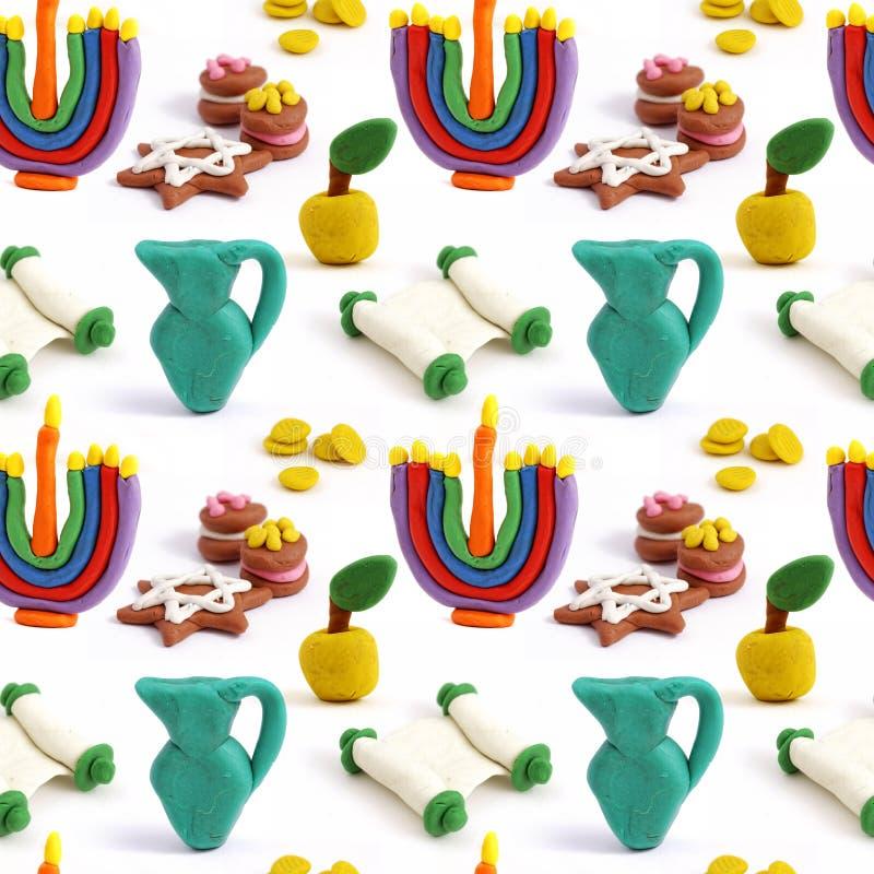 Sömlös handgjord plasticinemodell för Chanukkah Modellera färgrik textur för lera bakgrund isolerad white fotografering för bildbyråer