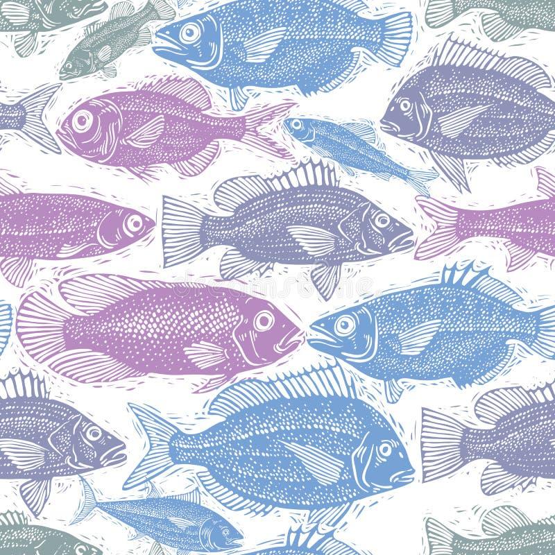 Sömlös havsmodell, olika fiskkonturer Hand dragen fau royaltyfri illustrationer
