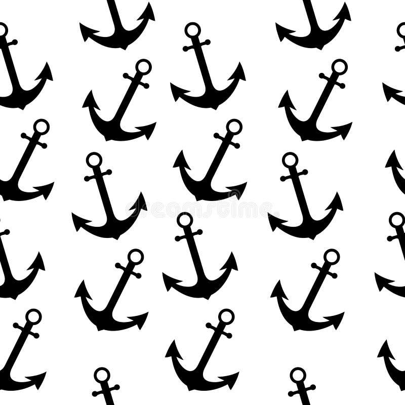 Sömlös havssjömanmodell med ankaret Abstrakt repetitionbakgrund, tecknad filmvektorillustration kan användas som textilen som skr vektor illustrationer