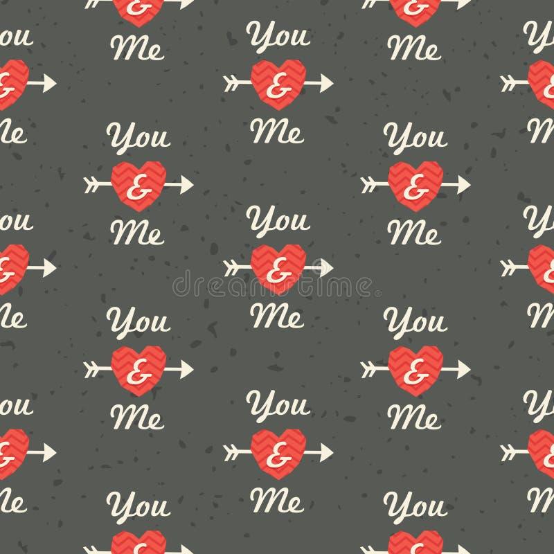 Sömlös hipsterförälskelsemodell dig och mig i röd stock illustrationer