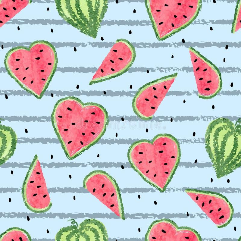 Sömlös hjärta formad vattenmelonmodell stock illustrationer