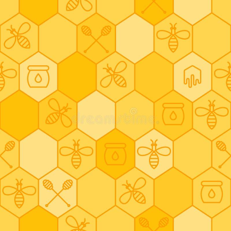 Sömlös honungmodell för vektor Skissera bin, honungskakor, honungskopasymbol stock illustrationer