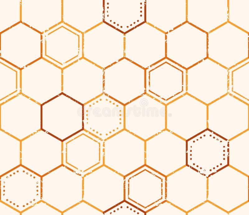 Sömlös honungmodell med skisserade honungceller vektor illustrationer