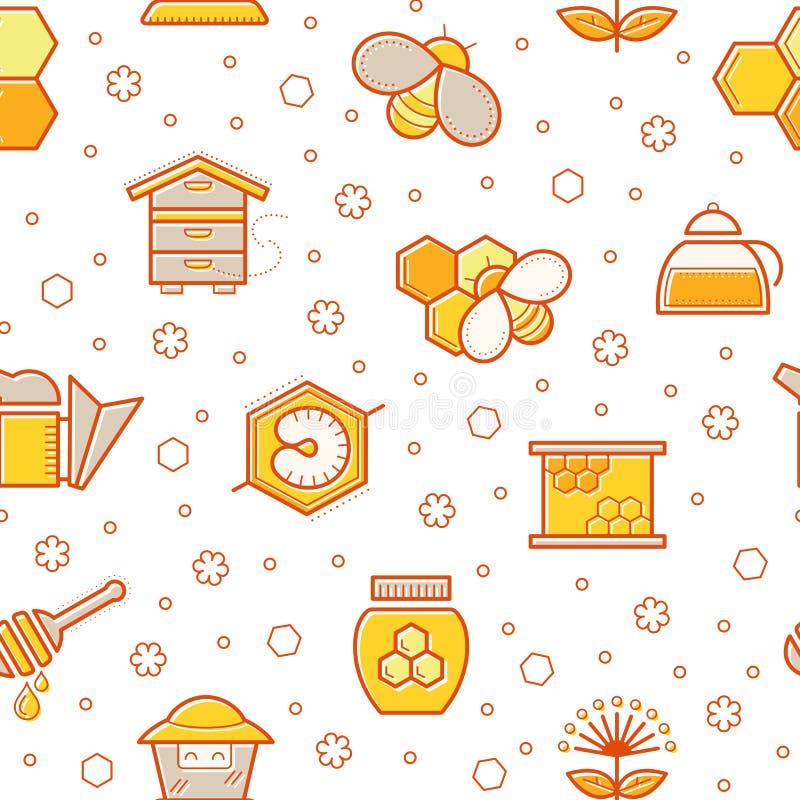 Sömlös honungmodell med slagit honungbin, biceller, bikupor och biodlingtecken royaltyfri illustrationer