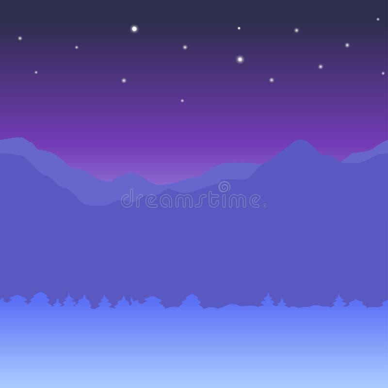 Sömlös horisontalbakgrund för vinter med berg och plan stil för snönatt vinter f?r gata f?r liggandenattfolk g? royaltyfri illustrationer