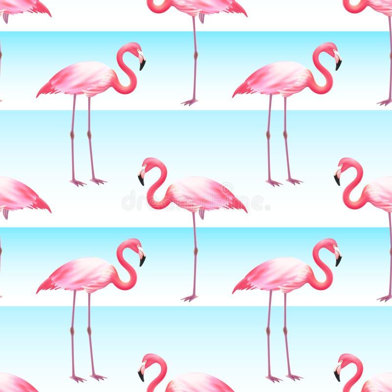 Sömlös horisontalbandmodell för rosa flamingo royaltyfri illustrationer