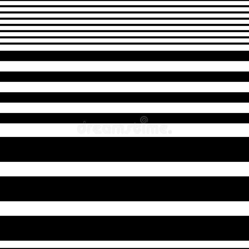 Sömlös horisontalbandmodell Vektor svartvita Backg stock illustrationer