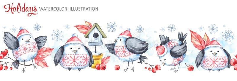 Sömlös horisontalgirland för vattenfärg Roliga fåglar, voljär, bär, sidor och snöflingor Cretive nytt år royaltyfri illustrationer
