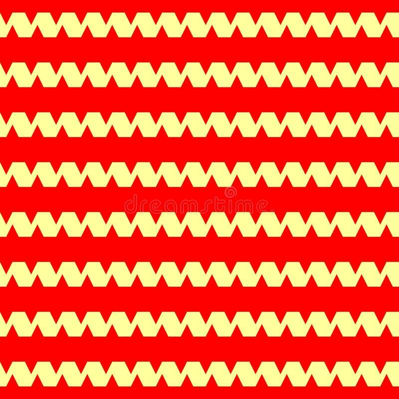 Sömlös horisontalrandig modell Det upprepade krullande bandet för guling fodrar på röd bakgrund Vinkar abstrakt bakgrund vektor illustrationer