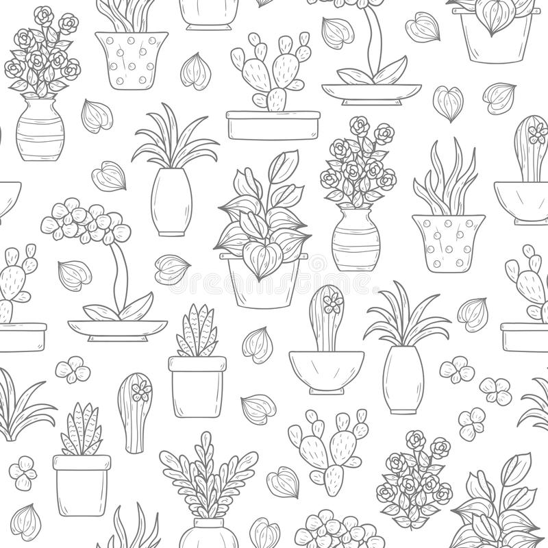 Sömlös houseplantbakgrund stock illustrationer