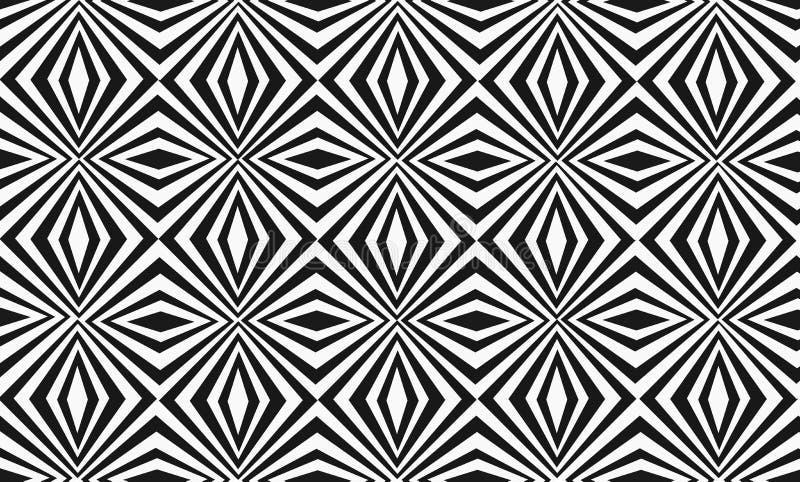 Sömlös hypnotisk svartvit modell med korsningen, diagonala randiga linjer vektor illustrationer