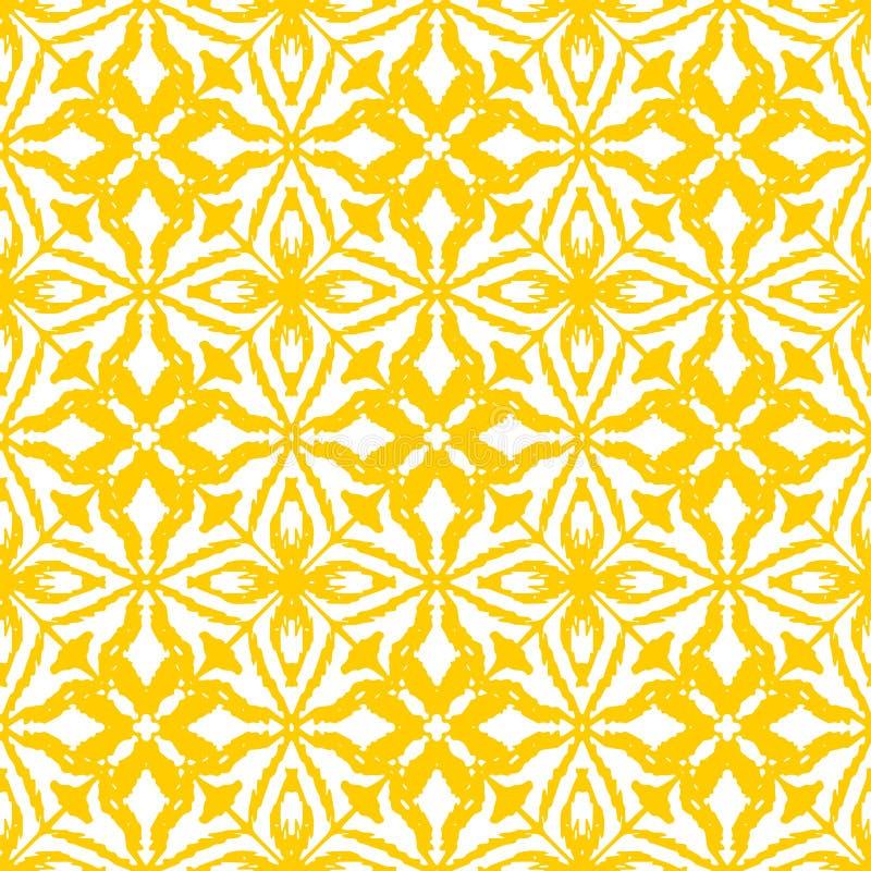Sömlös ikatmodell i guling stock illustrationer