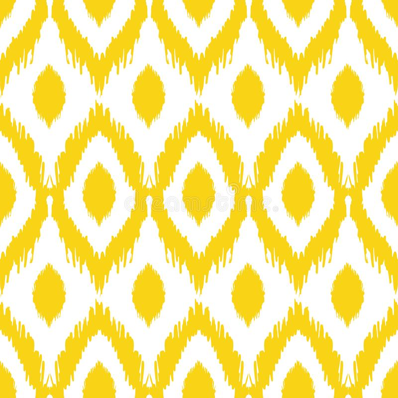 Sömlös ikatmodell i guling- och grå färgfärger Stam- bakgrund för vektor royaltyfri illustrationer
