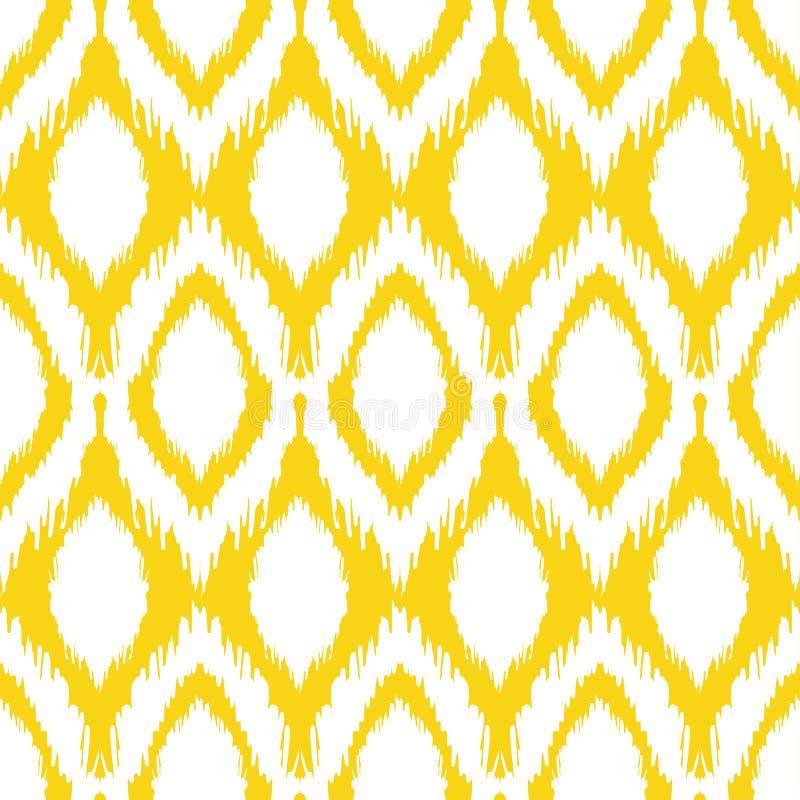 Sömlös ikatmodell i guling- och grå färgfärger Stam- bakgrund för vektor vektor illustrationer