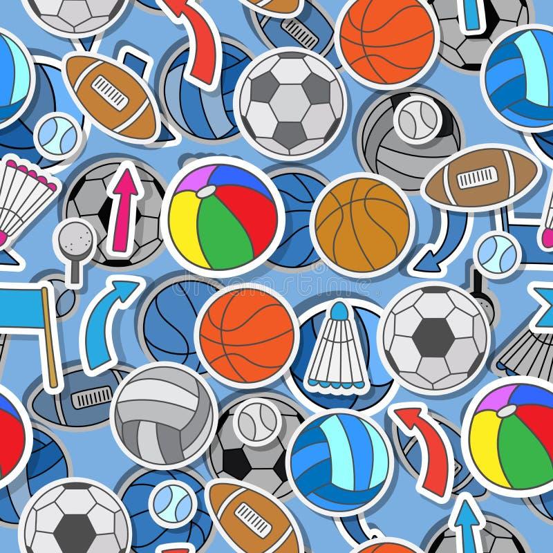 Sömlös illustration av olika sportbollar, pilar och flaggor vektor illustrationer