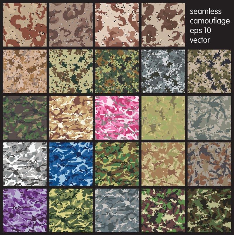 Sömlös illustration för kamouflagemodellvektor royaltyfri illustrationer