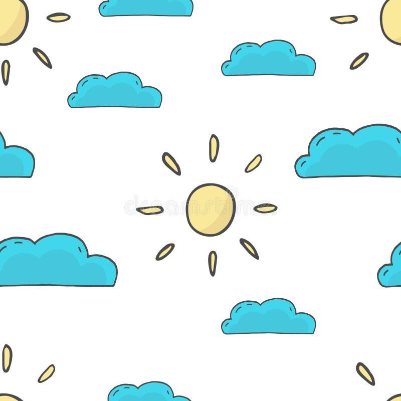 Sömlös illustration för sol- och molnmodellvektor royaltyfri illustrationer