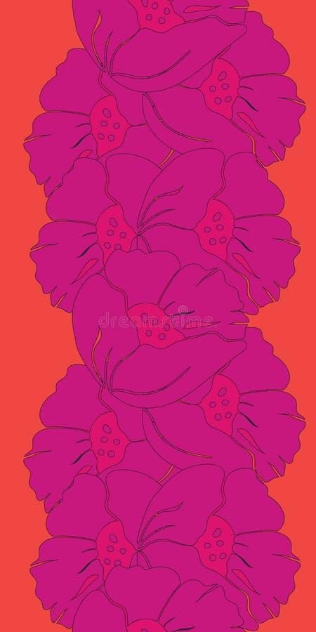 Sömlös illustration för vektor av gladlynta ljusa rosa och orange vallmoblommor royaltyfri illustrationer