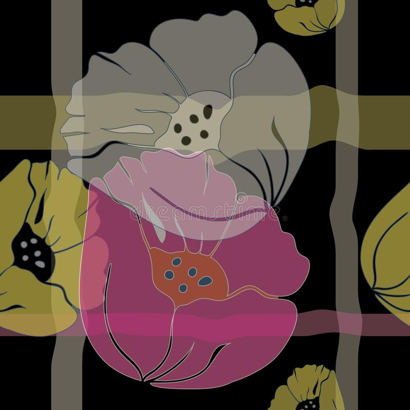 Sömlös illustration för vektor av stiliserade luftiga mångfärgade genomskinliga rosa färger, vita gula vallmo arkivfoto