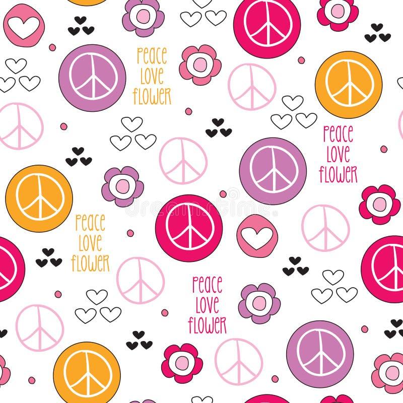 Sömlös illustration för vektor för modell för fredförälskelseblomma stock illustrationer