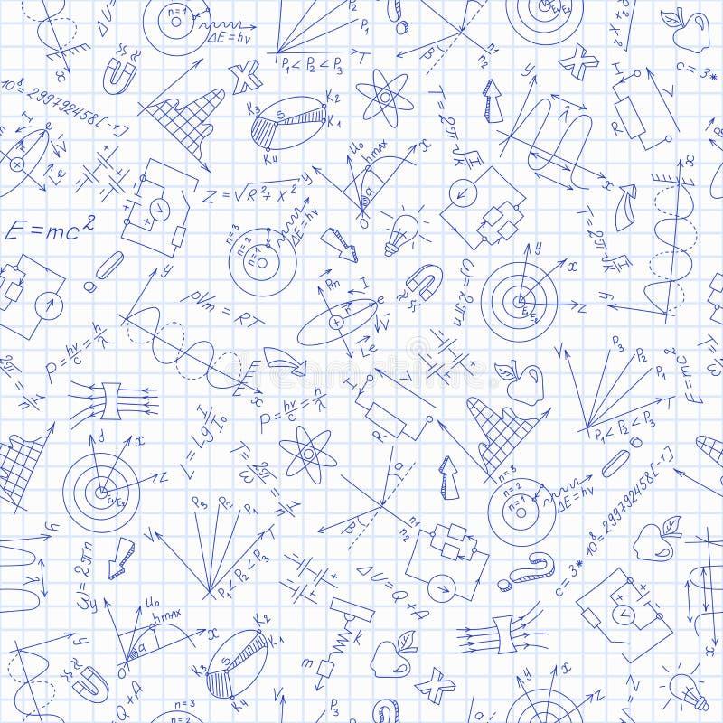 Sömlös illustration i studien av fysik på skolan, hand-drog symboler på bakgrund i buren royaltyfri illustrationer
