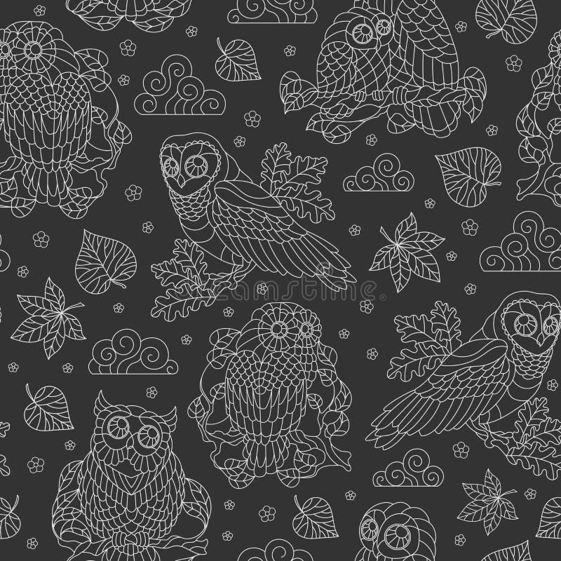 Sömlös illustration med abstrakta ugglor, sidor och blommor, ljus översiktsillustration på mörk bakgrund royaltyfri illustrationer