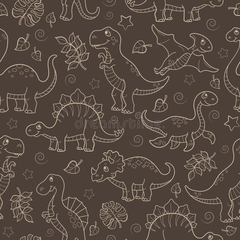 Sömlös illustration med dinosaurier och sidor, dragen upp konturerna av beige översikt för djur på en brun bakgrund vektor illustrationer