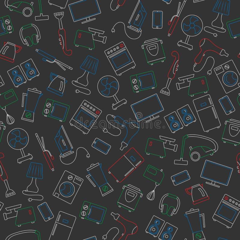Sömlös illustration med enkla symboler för en kontur på ämnet av hushållanordningar, kulöra chalks på skolförvaltningen stock illustrationer