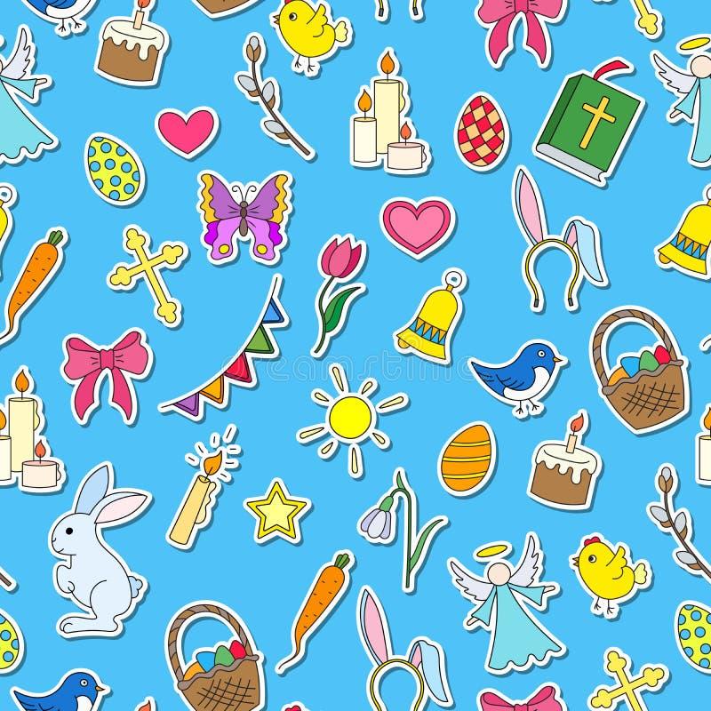 Sömlös illustration med enkla symboler på ett tema ferien av påsken, symbolsklistermärkear på blå bakgrund stock illustrationer