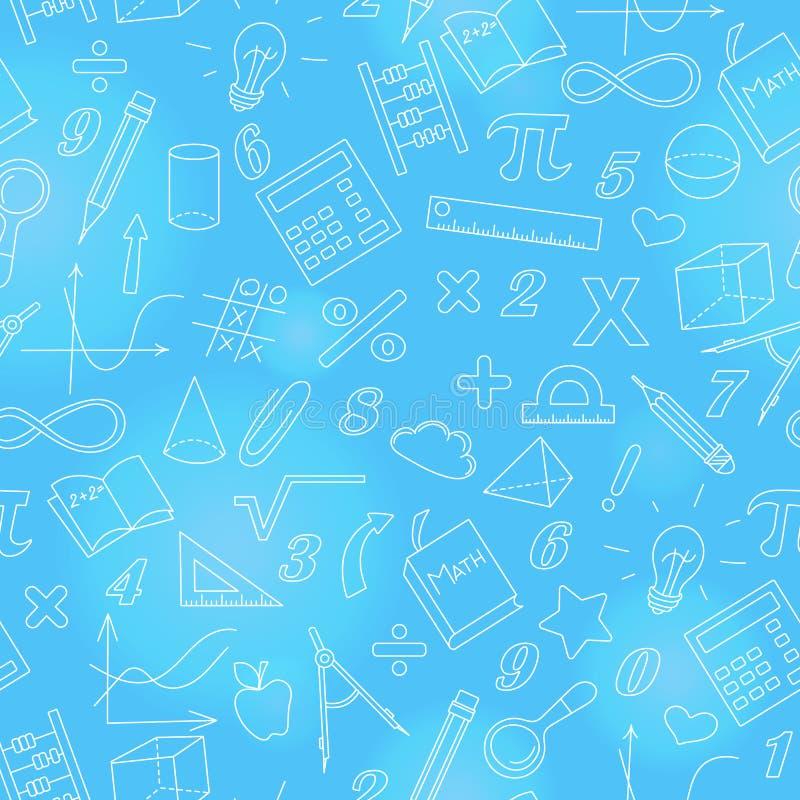Sömlös illustration med enkla symboler på temat av matematik och att lära, ljus översikt på en blå bakgrund stock illustrationer