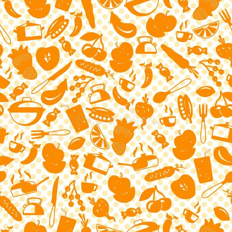 Sömlös illustration med enkla symboler på tillbehör för ett temakök och mat, orange konturer av symboler på en ljus backgroun stock illustrationer