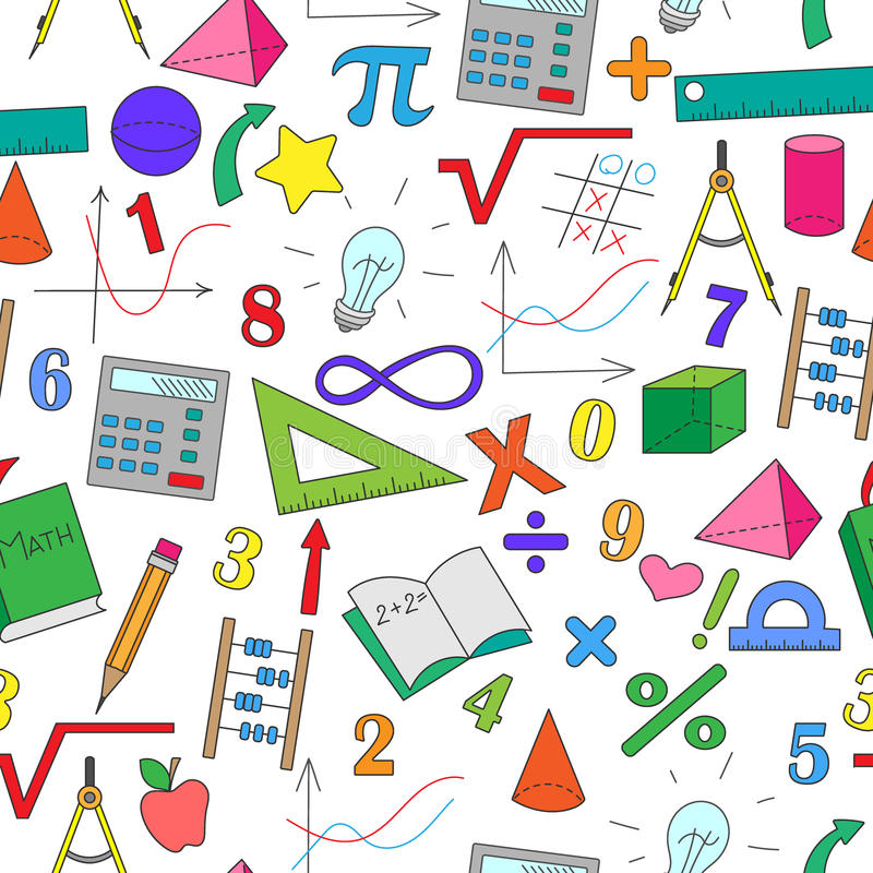 Sömlös illustration med hand-drog enkla teckningar på temat av matematik royaltyfri illustrationer